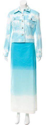Celine Tie-Dye Maxi Skirt Suit