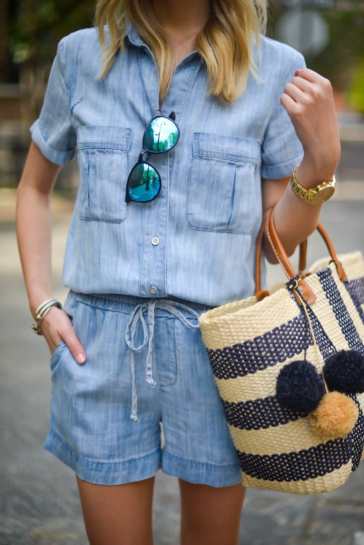 Spring Fashion: Affordable Chambray Romper, Ray-Bans & a Straw Tote via @katiesbliss