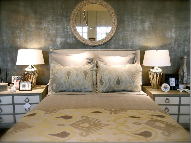 Monochromatic Bedroom With Metallic Wallpaper, Mercury Glass Lamps,  Upholstered Headboard