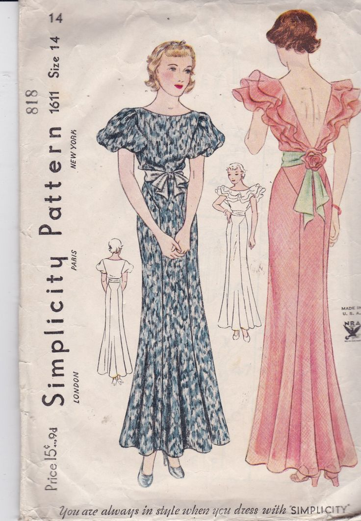 Simplicity 1611 Antique Pattern From 1930's Evening Gown Very Rare Size 14