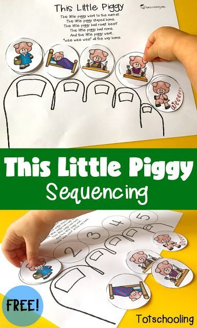 FREE This Little Piggy nursery rhyme sequencing printable activity perfect for toddlers, preschoolers and kindergarten.