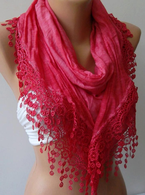 Dark Pink / Elegance  Shawl / Scarf with Lacy Edge-------soft and light,,