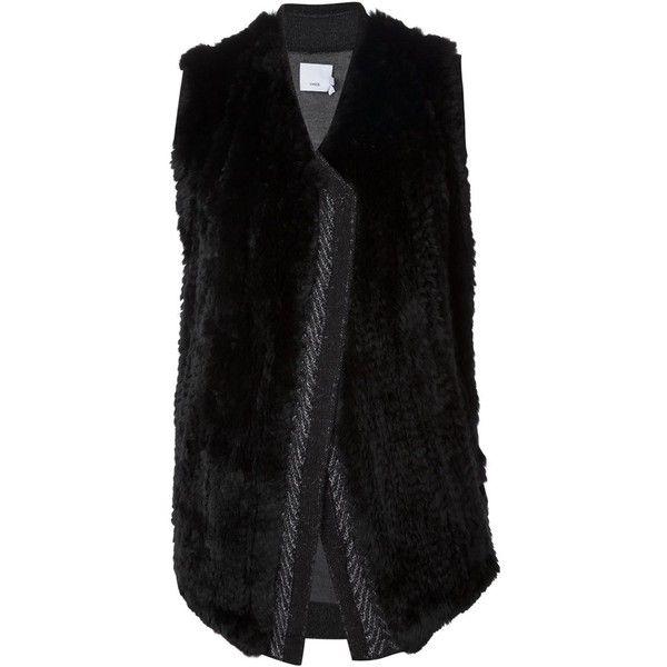 Black and grey wool chevron trim rabbit fur gilet from Vince.