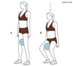 esercizi per rassodare interno cosce - squat con la palla