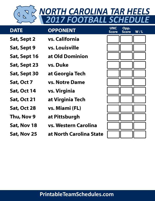 2017 North Carolina Tarheels Football Schedule