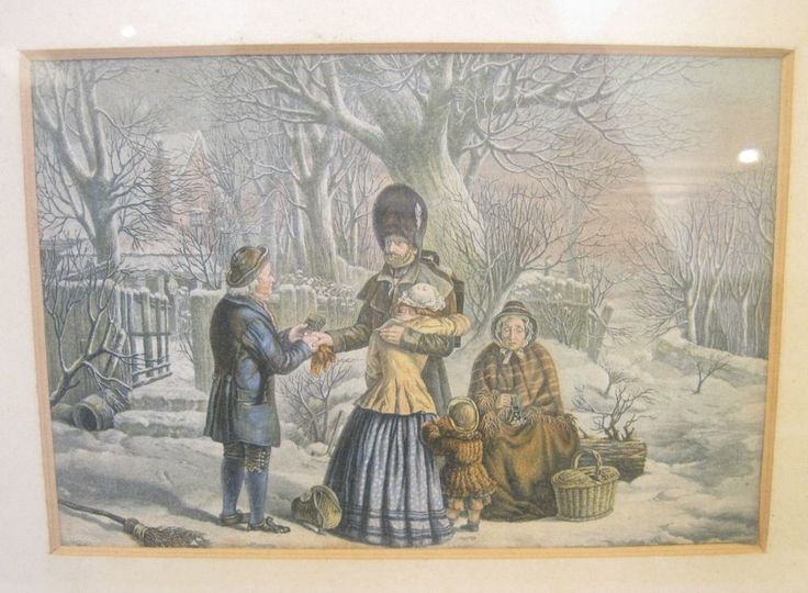 VICTORIAN GEORGE BASTER OIL PRINT SOLDIERS FAREWELL
