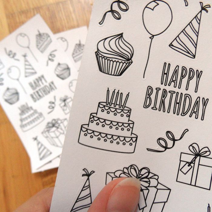 this is some great diy gift idea even for kids! Color in the coloring stickers using the favorite shades of the birthday kid :) These birthday stickers also make a great addition to any gift for coloring lovers! They are perfect for planner decorations and let you mark upcoming birthday parties in such a fancy way! Save this pin for when you're looking for affordable party favors!