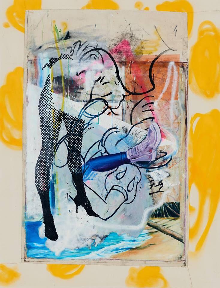-Strandpromiinade- Öl auf Nessel, 2017 210 x 165 cm, Endy Hupperich