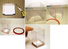 Las cajas transparentes son una excelente alternativa para el packaging de nuestras manualidades porque podemos mostrar nuestros trabajos a la vez que realzamos la presentación. Para realizar estas cajas con base y tapa en cartulina y cuerpo de acetato, necesitaremos:*Tijera*Cinta pegamento de 2 lados (opcional) Pegamento para papel.