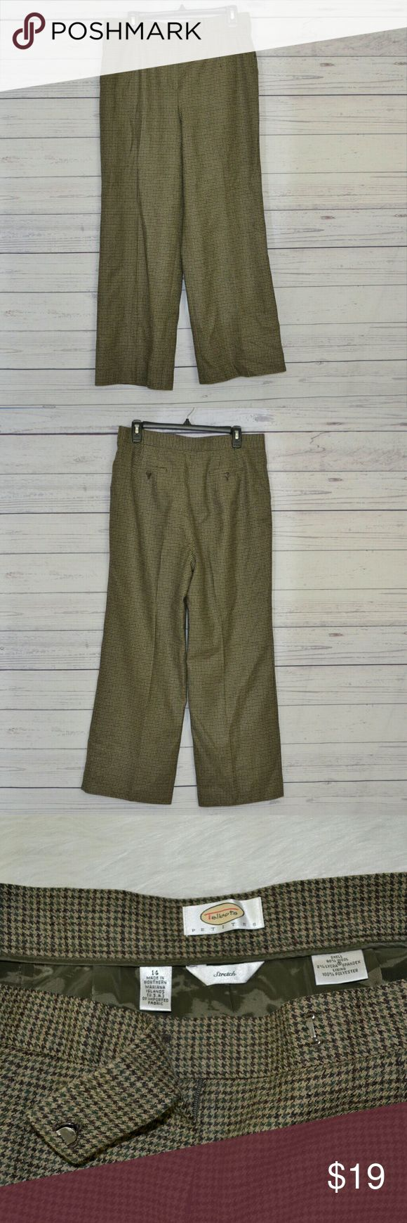 "Talbot houndstooth Olive Brown Trouser Size 14 Talbots Petites Womens Trousers Size 14 Stretch Houndstooth Pants Brown Dk Green   Brand: Talbots  Condition: Great condition.  Color: Brown  Materials: 98% Wool, 2% Spandex & Lining 100% Polyester   Origin: Made in Northern Mariana Isaland (USA) of imported Fabric  Size: 14P  Features: Houndstooth Patter, Pockets and fully lined.   Measurements:  Waist (laid flat & doubled): 34.5""   Inseam: 29""  Rise: 13"" Talbots Pants Trousers"