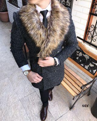 Terziademaltun - İtalyan kesim kürk yaka siyah kılçıllı erkek kaşe manto kaban T1960 (1)