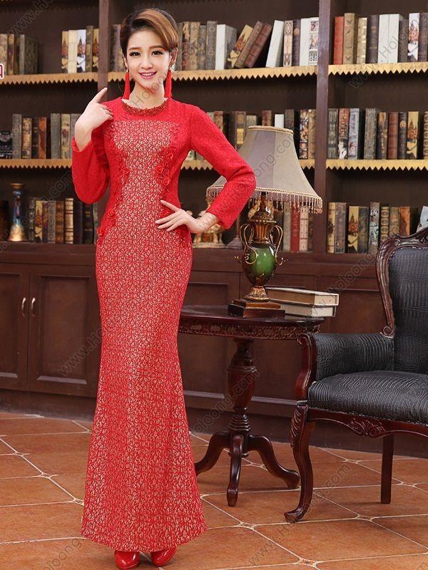 Cheongsam Mermaid Ankle-length Round collar Long-sleeve Applique Wedding Dress - USD $ 150.00