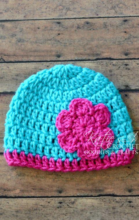 Free Flower Crochet Hat Pattern | Katie's Crochet Goodies