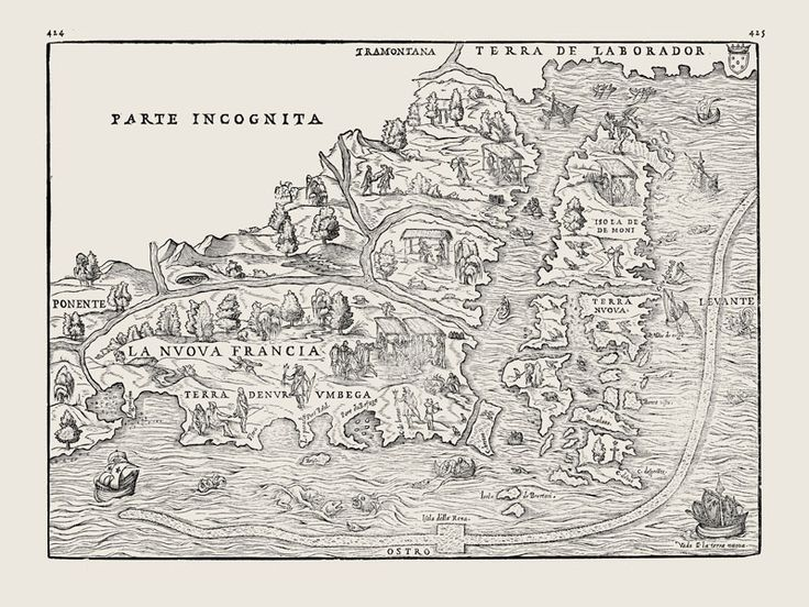 First printed map of Nova Scotia by Giovanni Ramusio in 1565