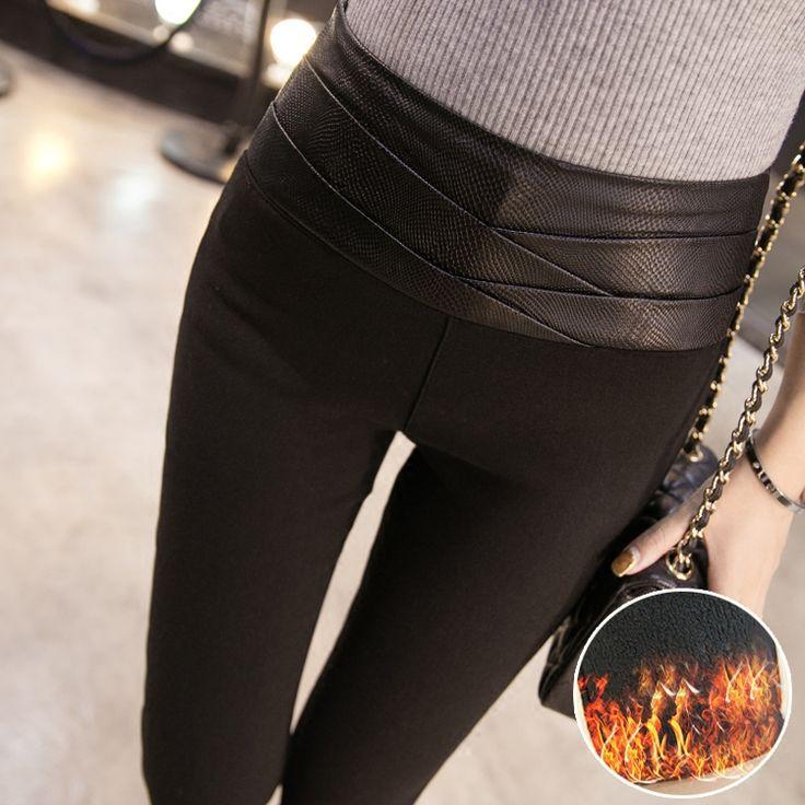 2 015 зима новый корейский вариант был тонких плюс толстые бархатные леггинсы женские PU стрейч борьба кожи карандаш брюки ноги штаны - Taobao