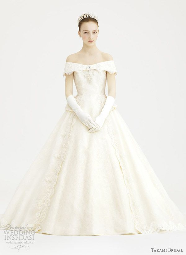 "Audrey Hepburn style ""Ingres"" wedding gown with off the shoulder sleeves from Takami Bridal."