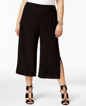Ny Collection Plus Size Split-Leg Culotte Pants - Black