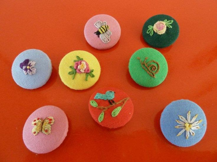 embroidered fabric buttons. Might be nicer with plain burlap