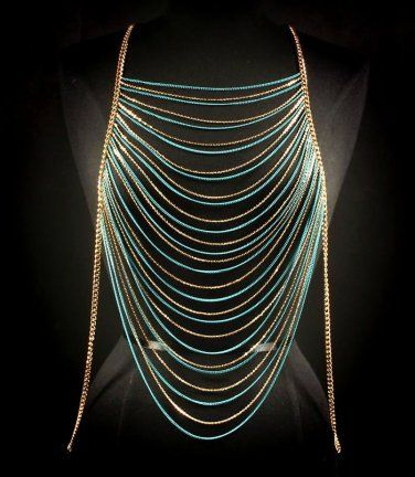 Body Chain Turquoise Gold Draping Metal Chains Dress Armor Avant Garde Designer Fashion Statement