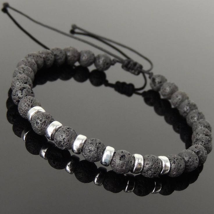 6mm Lava Rock Adjustable Braided Stone Bracelet with S925 Sterling Silver Spacers - Handmade by Gem & Silver BR1157