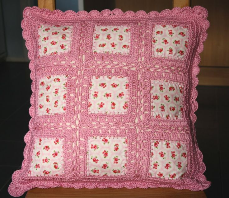 Lovely cushion - fusion of patchwork and crochet