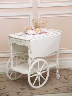 shabby chic tea cart - I'd like to do this with mine. It is now a maple and I don't like wood....I like painted!!!