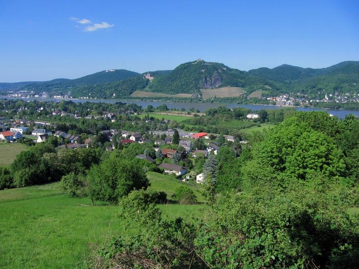 Siebengebirge (Seven Hills), Drachenfels, Schloss Drachenburg and Petersberg (most distant) overlooking Königswinter, Germany