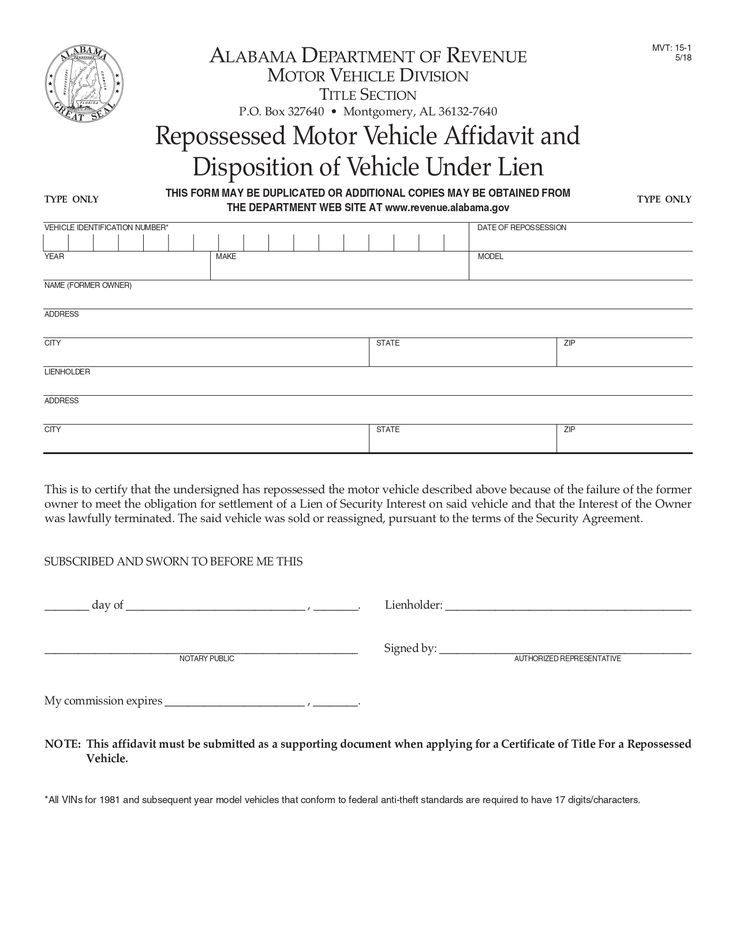 Alabama Repossessed Motor Vehicle Affidavit And Disposition Of