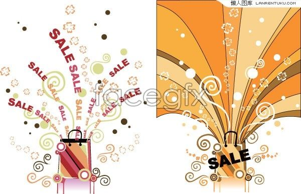 Two sales promotional drawings vector