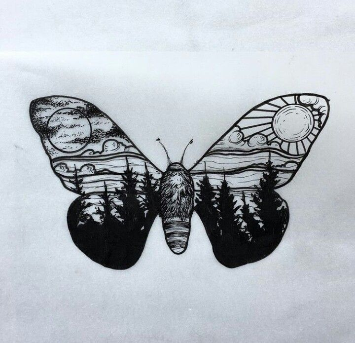Moth scenery tattoo design. IG: merry_tattooer