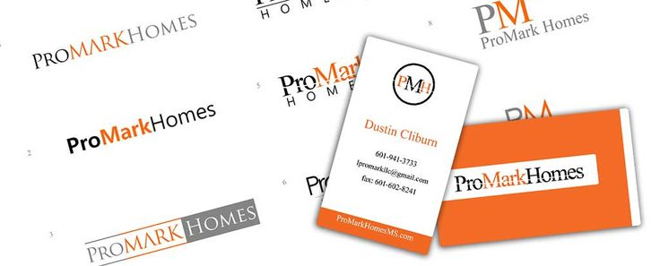 Business card and logo design for ProMark homes of Mississippi