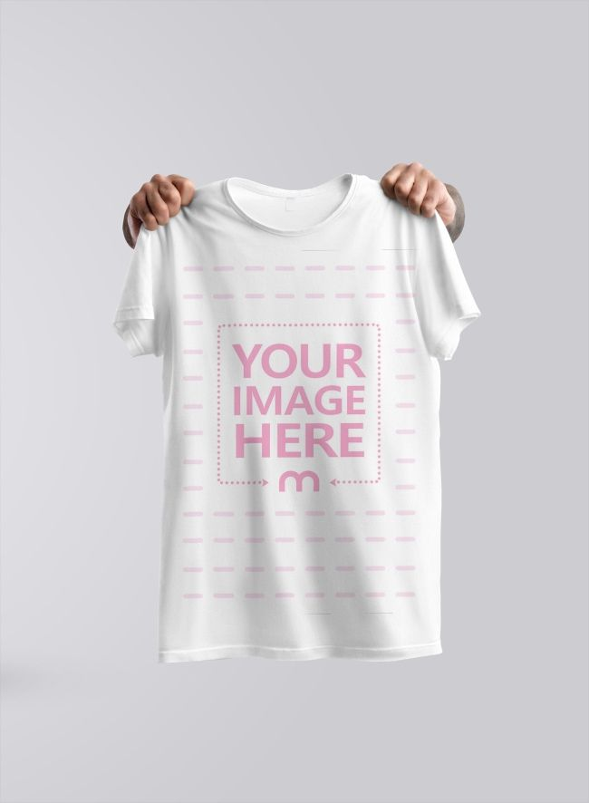 A Creative Mockup Template With Hands Holding A T Shirt In The Air Clothing Mockup Shirt Mockup Colorful Shirts