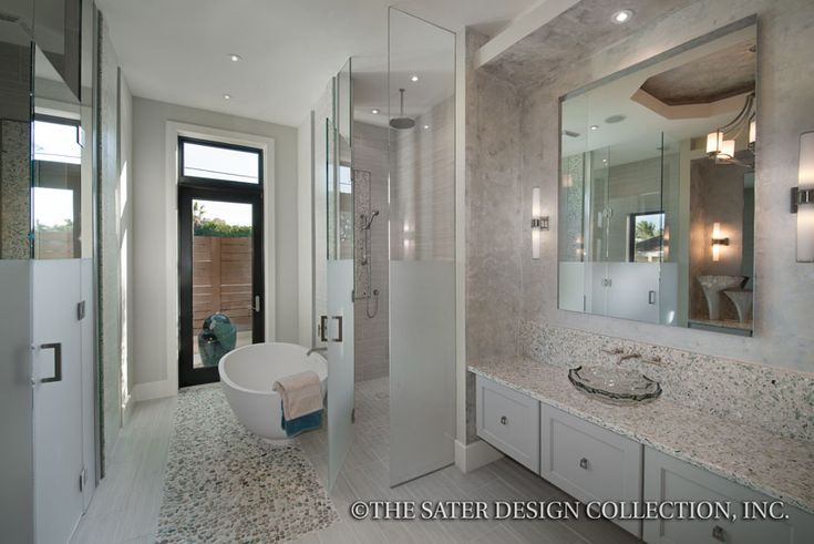 "Master Bathroom. The Sater Design Collection's luxury, modern home plan ""Moderno"" (Plan #6967). saterdesign.com"