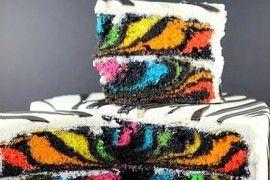 """Duhový """"Zebra dort"""" který ohromí všechny hosty + Video"""