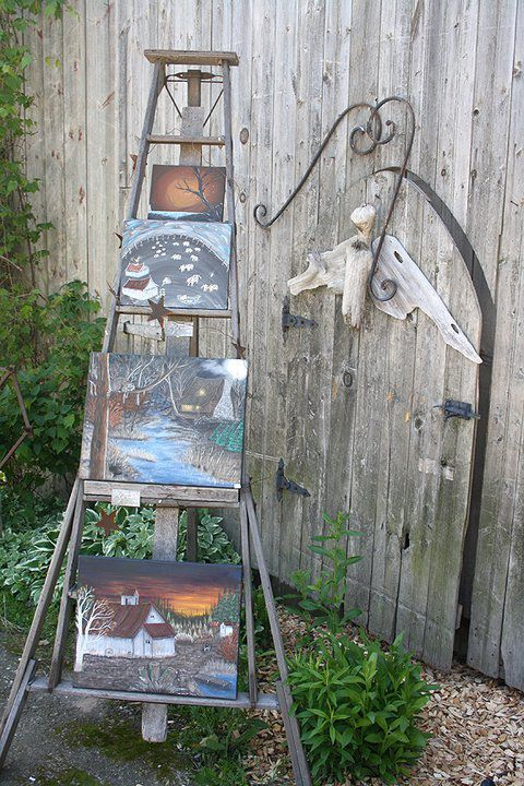 Small Ladder of Country Classic Paintings by Harley Snively. From Top. Late Night Tree, When Cows Fly, Raccon's watching over and Sunset Barn. items available via Kayanddee@hotmail.com or Facebook: Silver Lake Studio: ARt by Harley Snively