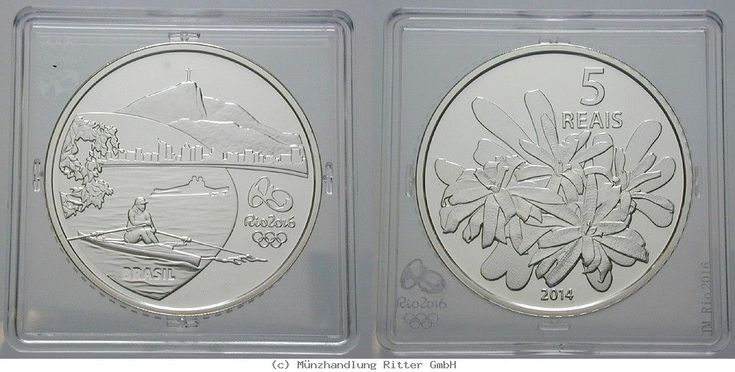 RITTER Brasilien, 5 Real 2014, Olympische Spiele Rio de Janeiro 2016, Ruderer,PP #coins #numismatics