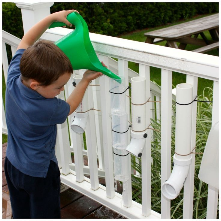 Simple Water Wall- this link also has 9 other great ideas for outdoor play. But I love this water wall idea!
