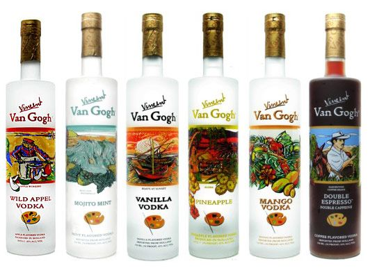Van Gogh Vodka - Wild Appel, Mojito Mint, Vanilla, Pineapple, Mango, Double Espresso - also available in Chocolate, Double Chocolate, Blue, and other flavors