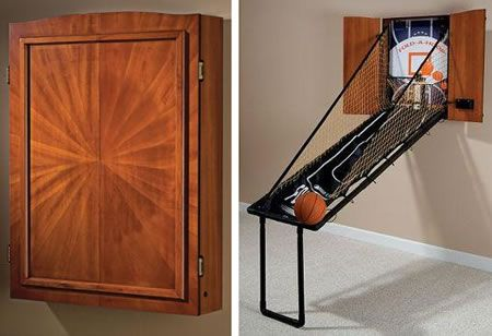 Here's a solution for those of you who thinks the USB Basketball Game is too small, but still don't have enough room to go for the real deal.    This wall-mounted fold-out version extends a mere 6 inches from the wall when closed. Simply open the doors to the Mahogany wood veneer c