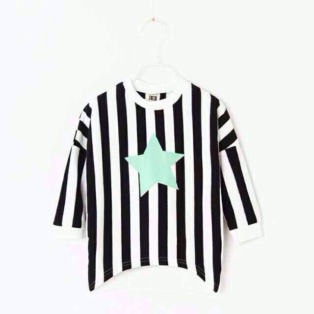 Star stripe pure cotton black and white #yunhuigarment #kidswears #star #kids #girl #boys