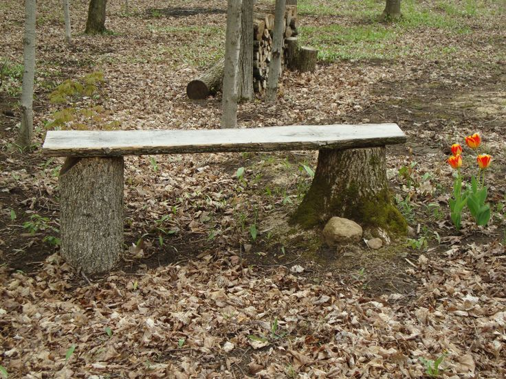 Rustic Outdoor Bench Made From Two Tree Stumps And A Piece