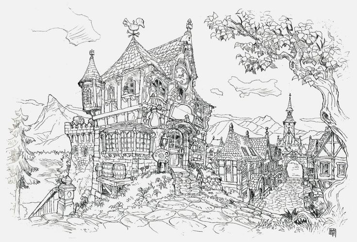Ye olde village: buildings: Kusanagi Studios. Final Fantasy artwork