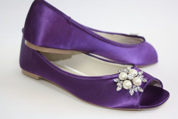 Purple Wedding Flats - Choose From Over 100 Colors - Dyeable Wedding Flats - Ballet Flats With Pearl And Crystals - Comfortable Wedding Shoe on Etsy, $122.00
