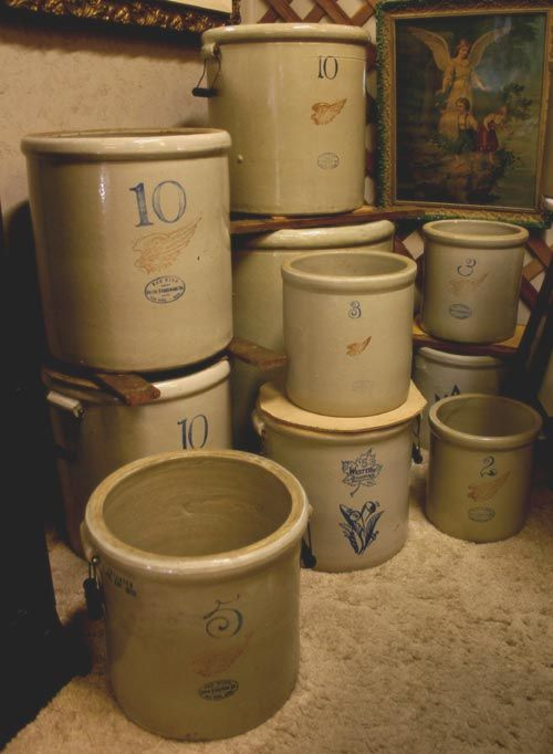 I Love crocks!! I have a huge collection of Medalta Potteries & Stoneware crocks. From sizes 1/4 or smaller up to #20.