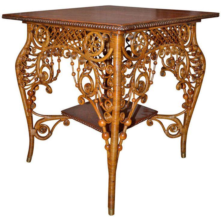 Ornate Victorian Antique Wicker Table