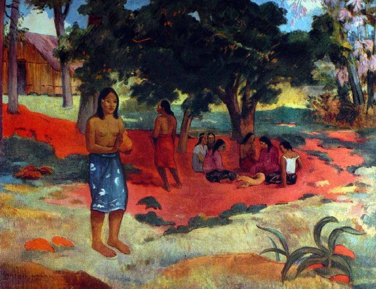 Paul Gauguin - Post Impressionism - Tahiti - Mots chuchotés - 1892  Be Sure To Visit:  http://universalthroughput.imobileappsys.com/