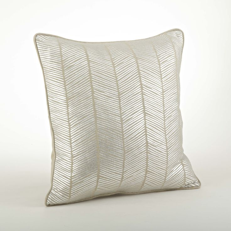 Dress your living space in comtemporary style with Saro's Lifestyle's metallic herringbone design pillow in designer silver. Pillow inserts included.