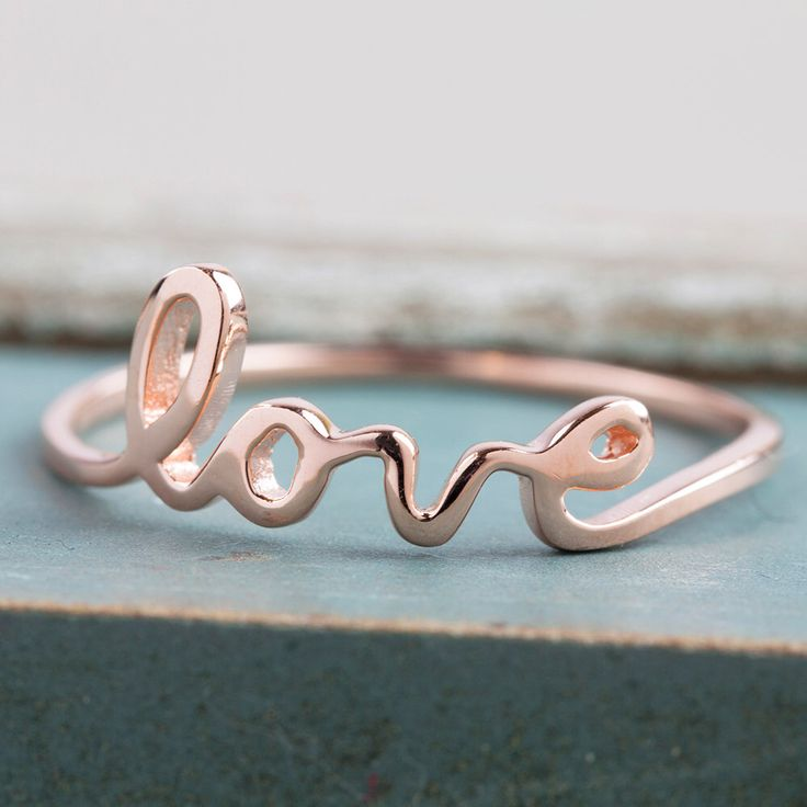 "Script ""love"" ring"