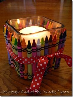 I like this, but maybe not the candle inside-wouldn't it melt the crayons? Maybe could be used for paperclip holder or somethin',