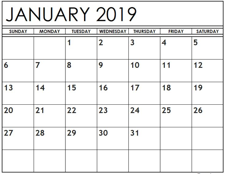 Printable Calendar for January 2019 Page Blank January 2019
